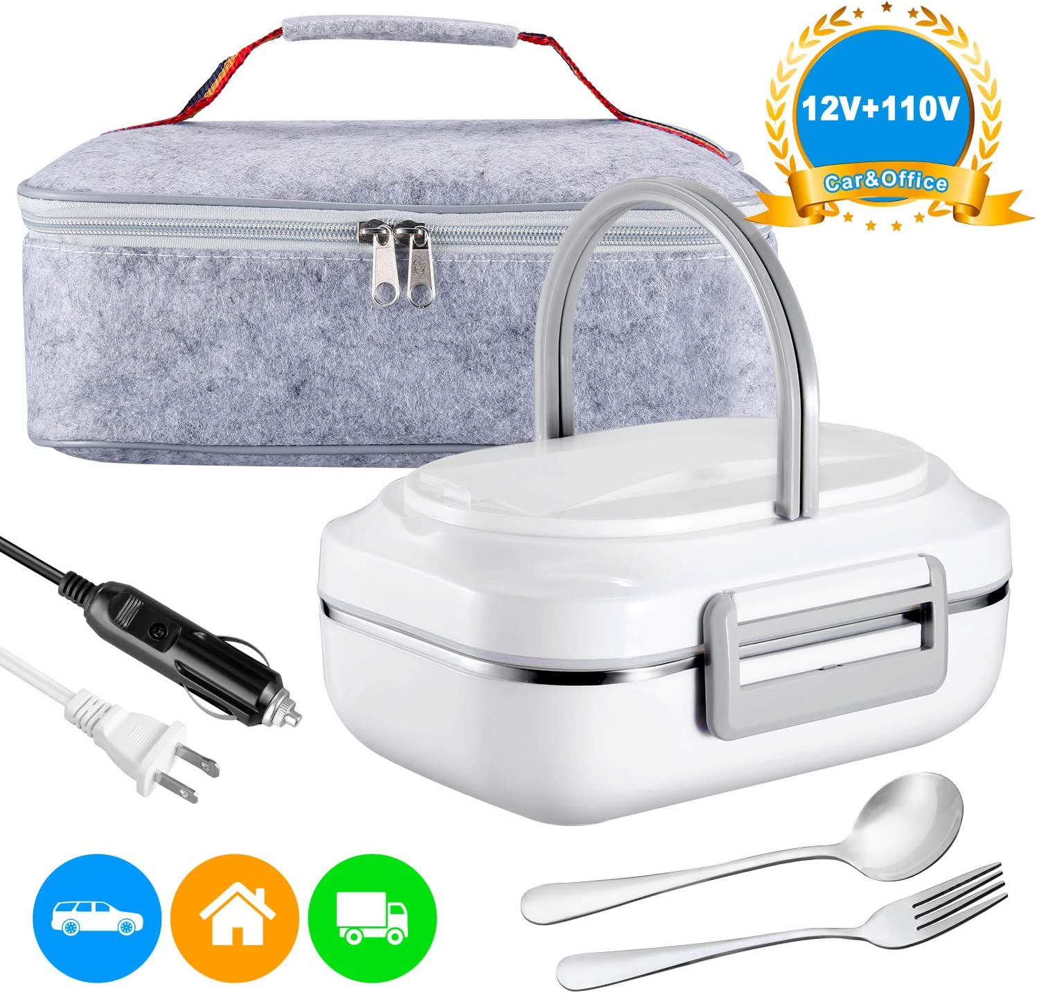 Electric Lunch Box Heating Lunchbox - Farochy Car Food Warmer and Heater Lunch Box Electric Lunch Box 2 in 1 for Car and Home 110V & 12V(Grey)