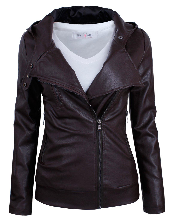 Tom's Ware Women's Fashionable Asymmetrical Zip-up Faux Leather Jacket TWPJW01-BROWN-US S
