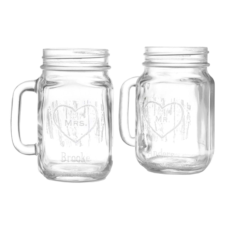 Hortense B. Hewitt Wedding Accessories Woodgrain Print Love Mason Drinking Jars, Set of 2