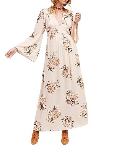HaoDuoYi Womens Chiffon Floral Print Wrap V Neck Flowy Pleated Wedding Maxi Dress