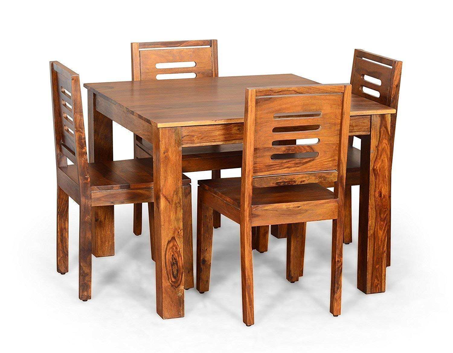 Monika Wood Furniture Solid Wood Dining Table 4 Seater Dinning Table With 4 Chairs Dining Room Furniture Sheesham Wood Natural Teak Finish Amazon In Home Kitchen