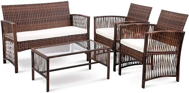 ZhengFei - Juego de muebles de jardín de mimbre, 4 piezas, para patio y patio, para interiores y exteriores, juego de muebles: Amazon.es: Oficina y papelería