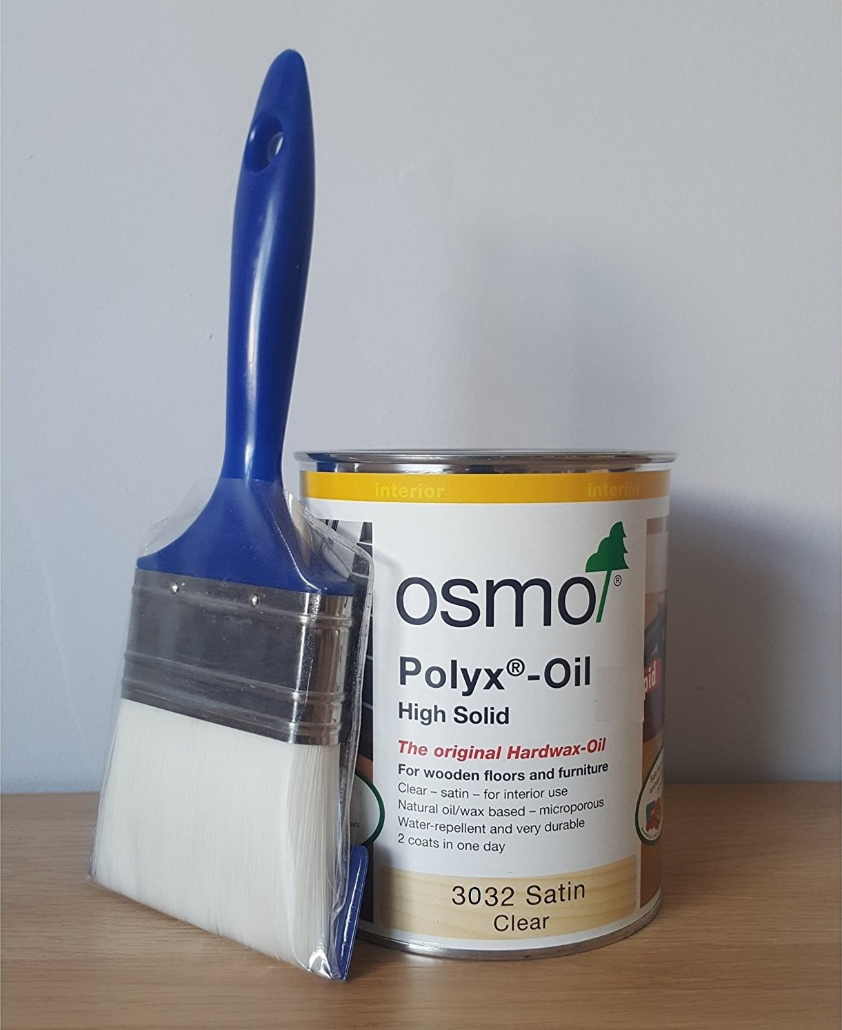 Osmo 750 Ml Polyx Hardwax Oil Satin 3032 with FREE Draper Brush 38mm Osmo Draper