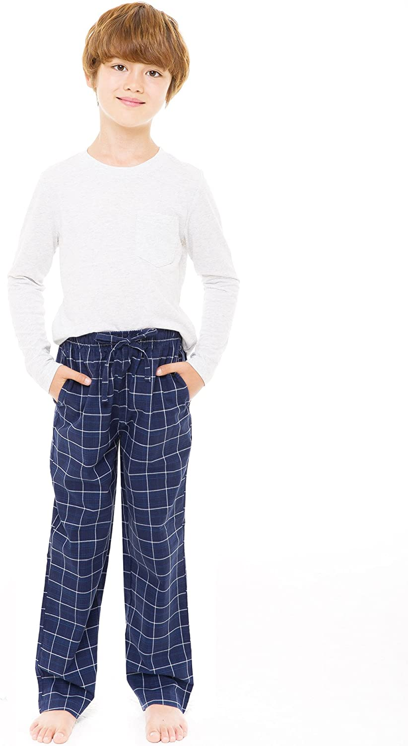 TINFL 6-12 Years 100/% Cotton Plaid Check Soft Lightweight Lounge Pants with Pocket