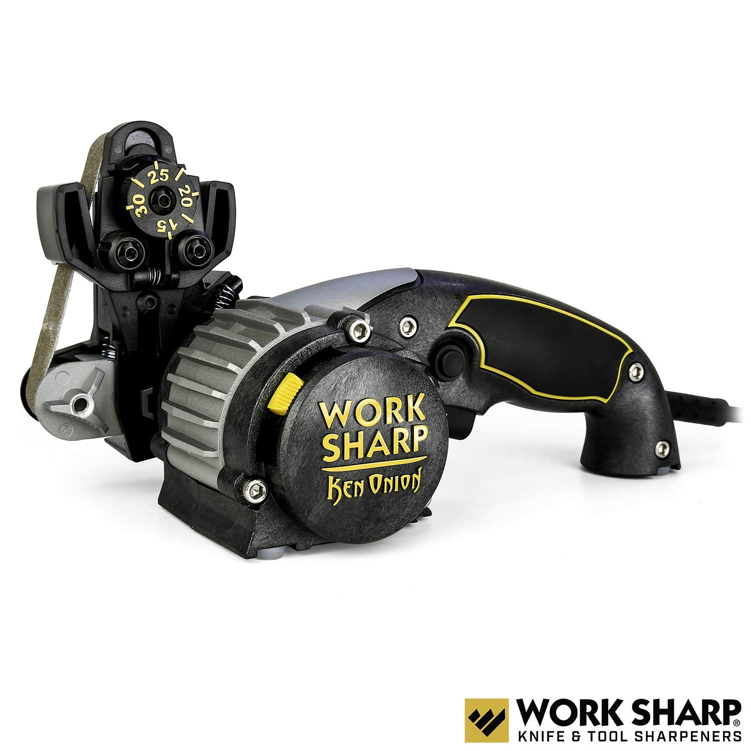 Work Sharp Knife & Tool Sharpener Ken Onion Edition - sharpening angles from 15° to 30°, flexible abrasive belts, variable speed motor, multi-positioning sharpening
