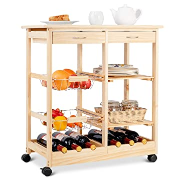 COSTWAY Küchenwagen Kiefernholz, Servierwagen auf Rollen, Rollwagen Küche,  Küchentrolley mit Schubladen, Beistellwagen Natur