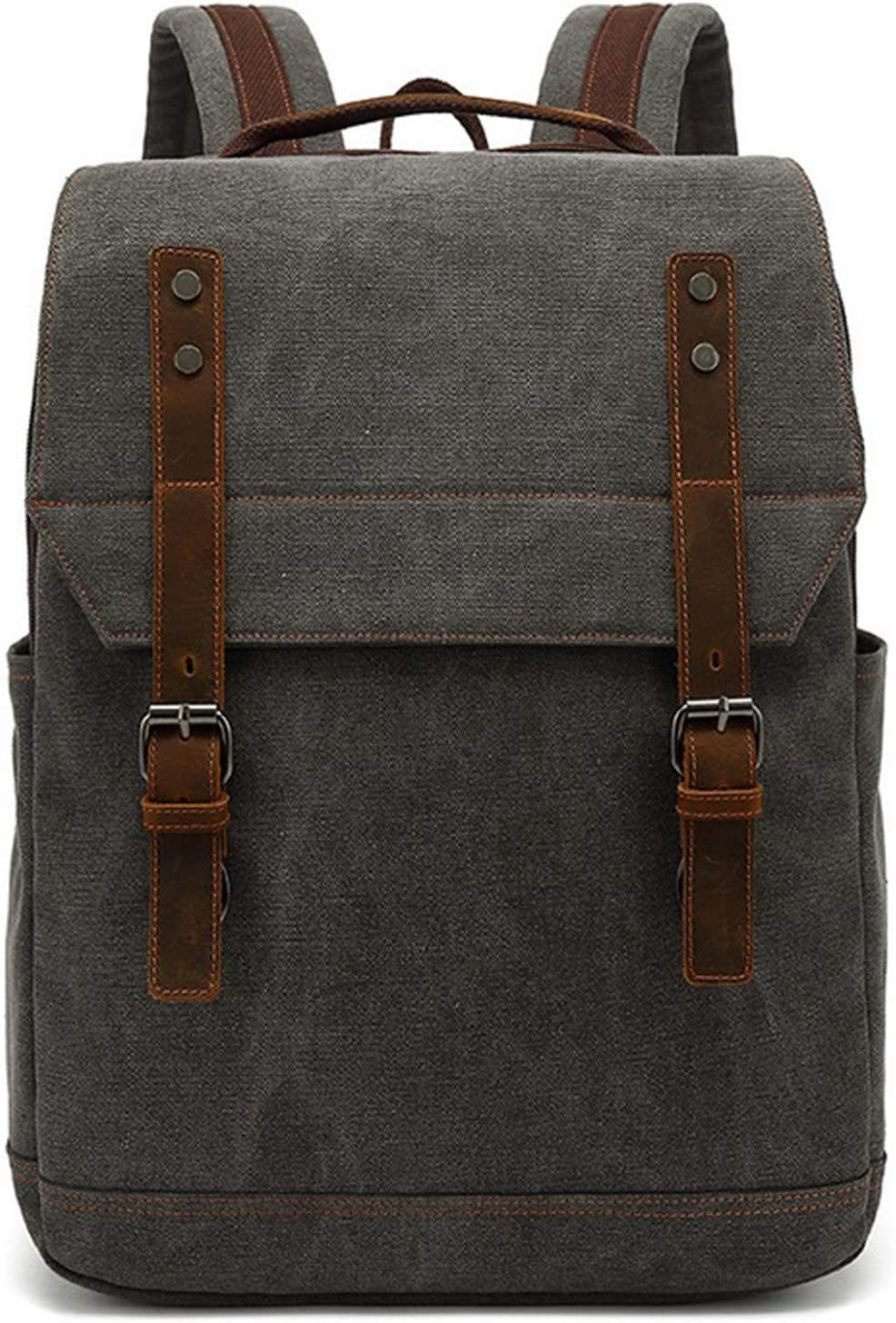 Vintage Canvas Backpack,Canvas Business Backpack, Large Capacity Laptop Backpack for Business Travel, School Hiking or Overnight Travel,Fits Laptop Upto 17'' (Gray)