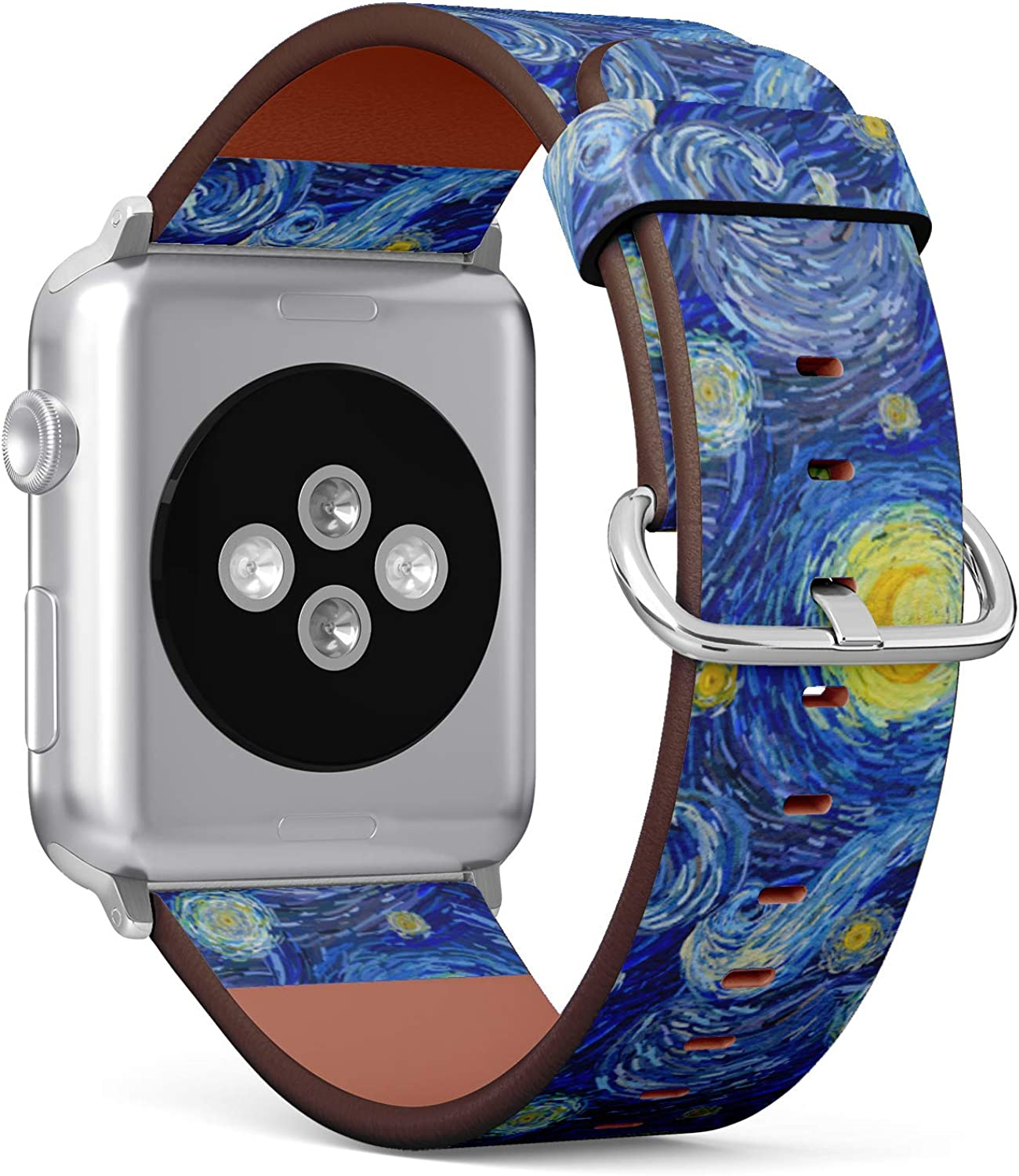 (Glowing Moon and Starry Night Abstract Background) Patterned Leather Wristband Strap for Apple Watch Series 4/3/2/1 gen,Replacement for iWatch 42mm / 44mm Bands
