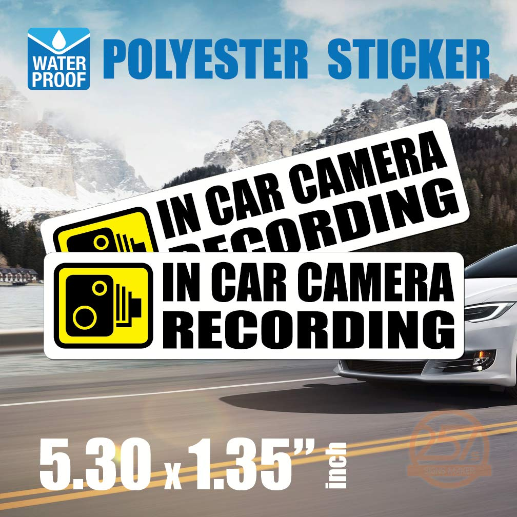 (Pack of 2 pcs) in Car Camera Recording Sticker Dash Cam on Board Video Label Bumper Baby Safe Decal [White]
