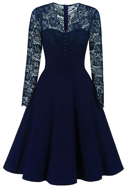 La Vogue Vestido de Boda Encaje con Cremallera para Mujer Novia Vintage Azul 2XL/Busto