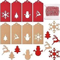 TUPARKA 80 Pcs Noël Étiquettes de cadeau papier Kraft Balises Étiquettes de cadeau de flocon de neige d'arbres de Noël renne Design Bonhomme de neige pour Noël bricolage Crafts Décorations