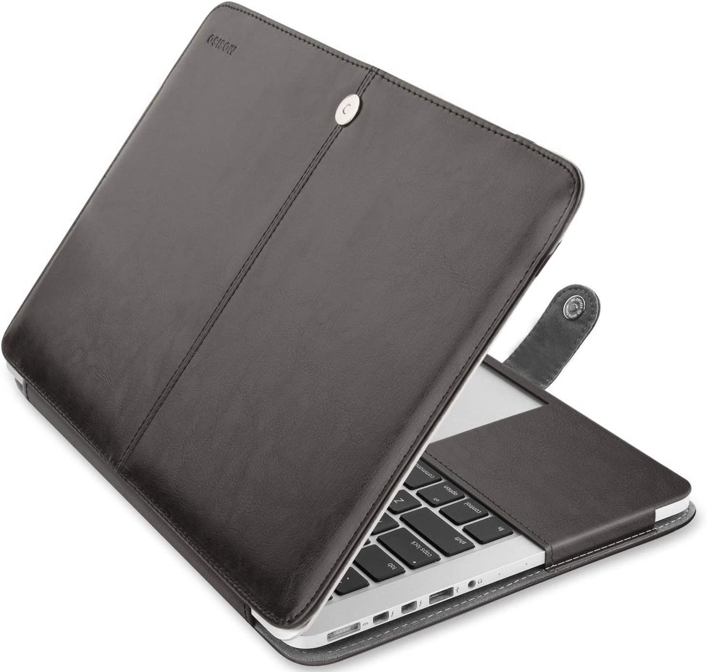 MOSISO MacBook Pro 13 inch Case, Premium PU Leather Book Folio Protective Stand Cover Sleeve Compatible with MacBook Pro 13 inch Retina (A1502/A1425, Version 2015/2014/2013/end 2012), Black