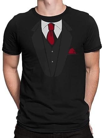 68fb5d8c3d8f14 vanVerden Herren T-Shirt Falscher Anzug mit Krawatte JGA Kostüm Fake Suit  Tie