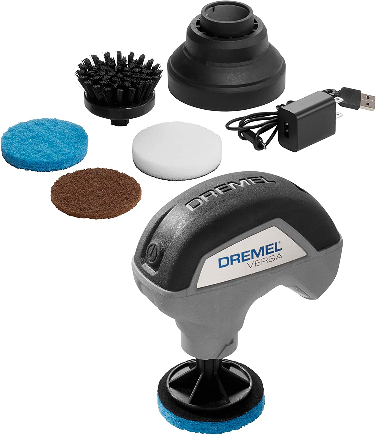 Dremel Versa Cleaning Tool- Grout Brush- Bathroom Shower Scrub- Kitchen & Bathtub Cleaner- Power Scrubber for Tile, Pans, Stoves, Tubs, Sinks Auto, Grills- PC10-02