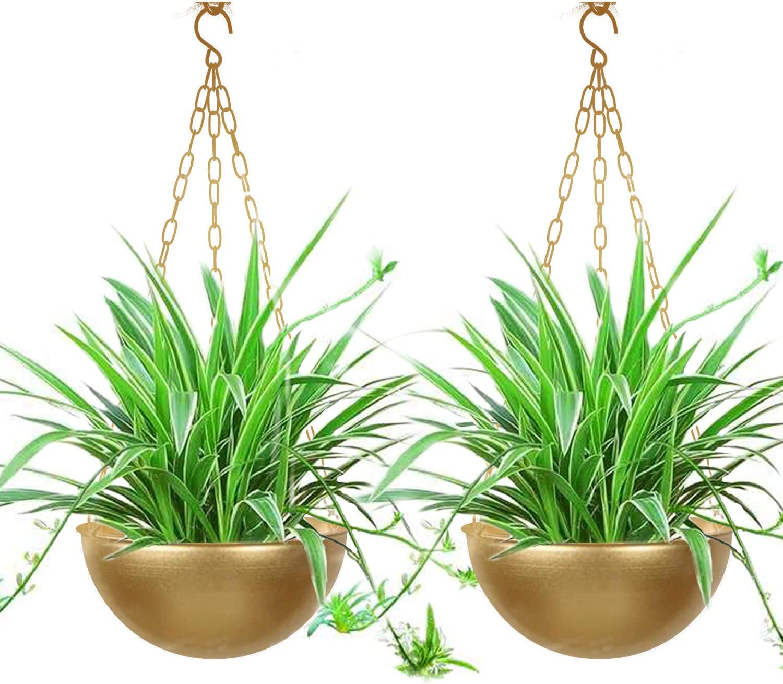 Hanging Planter Hanging Flower Basket Indoor,Outdoor Hanging Flower Pots Plants Holder Hanger Metal Pattern Design with Chain Hooks for Home Decor (Golden 2 Pack)