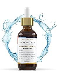 100% Pure Organic Coconut MCT Facial Beauty Skin Oil By Alana Mitchell 2oz | All Natural Moisturizer Essential Oil for...