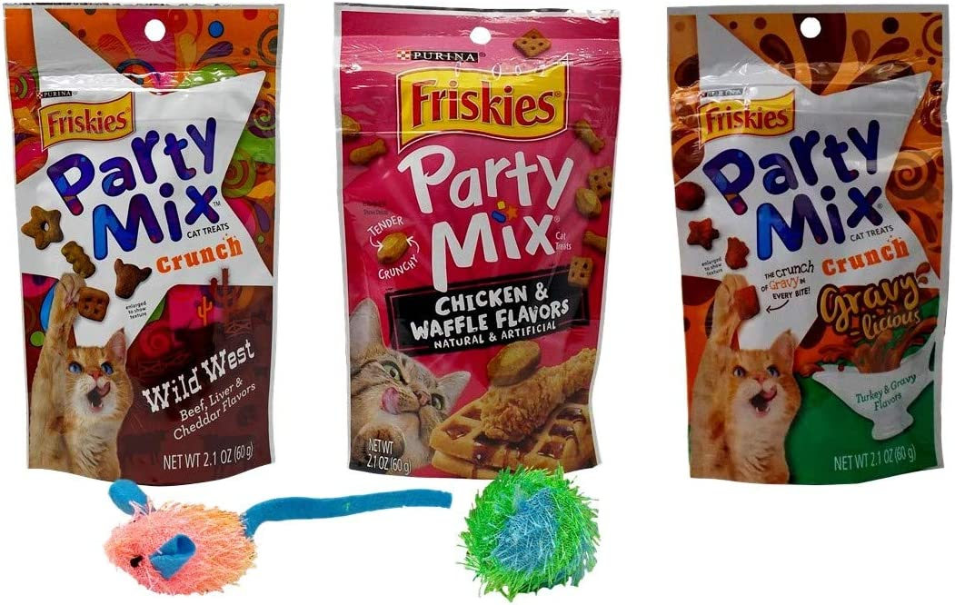 Friskies Party Mix Treats for Cats 3 Flavor Variety with 2 Toys Bundle,1 Each Wild West, Chicken Waffle, Turkey Gravy-Licious 2.1 Ounces