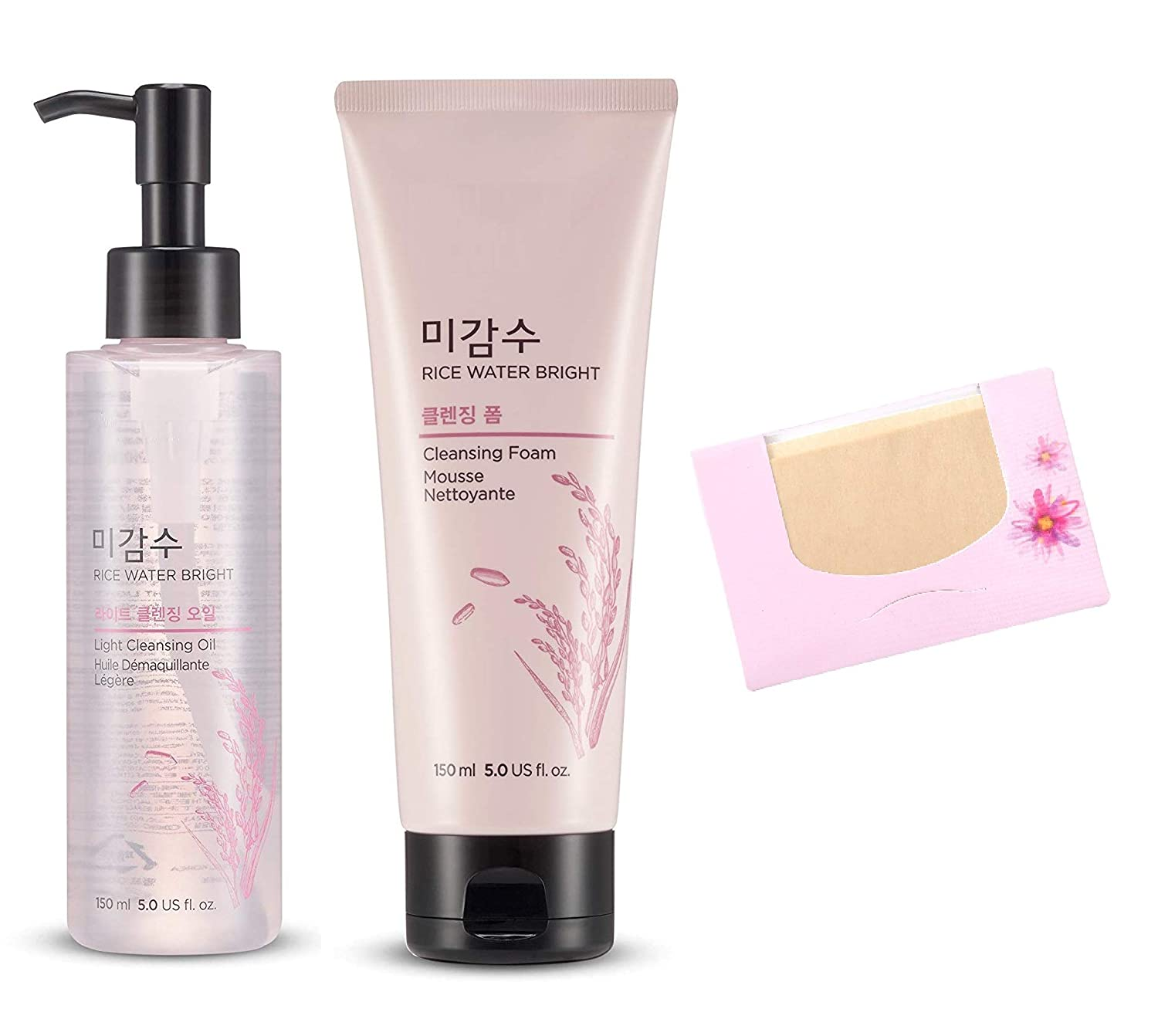 SoltreeBundle Korean Skincare Rice Water Bright Set(Cleansing Oil & Cleansing Foam) with SoltreeBundle Natural Hemp Paper 50pcs