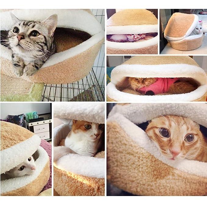 Hamburguesa cama para mascotas con cubierta extraíble, 2-en-1 sin pelusa a prueba de viento desmontable cama concha Casa para dormir suave hamburguesa ...