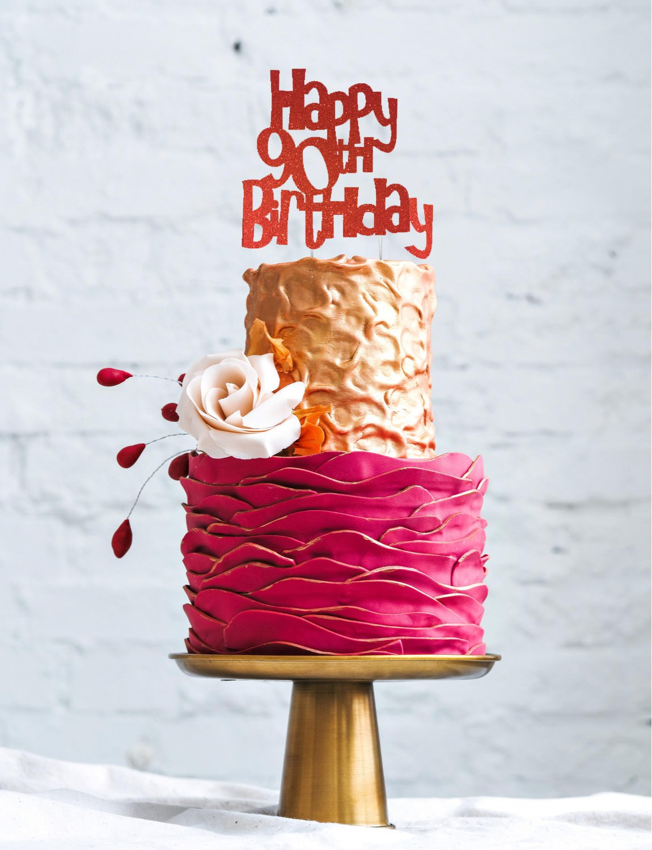 LissieLou Happy 90th Birthday Cake Topper