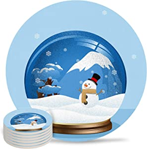 Coasters for Drinks Set of 6- Christmas Snowman in Blue Crystal Ball Absorbent Ceramic Coaster with Cork Back for Bar Office Coffee, Housewarming Gifts