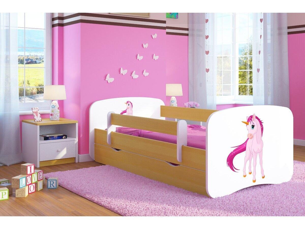 CARELLIA Cama Infantil Unicornio 80 x 180 cm con Barriere Zapatillas de + somier + cajones Incluye colchón. – Chene Clair
