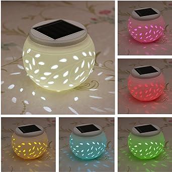 SOLMORE Lampe Solaire LED Veilleuse Céramique Boule 7 Changement de ...