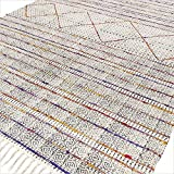 EYES OF INDIA - 4 X 6 ft White Colorful Cotton Block Print Area Accent Overdyed Dhurrie Rug Flat Weave Woven