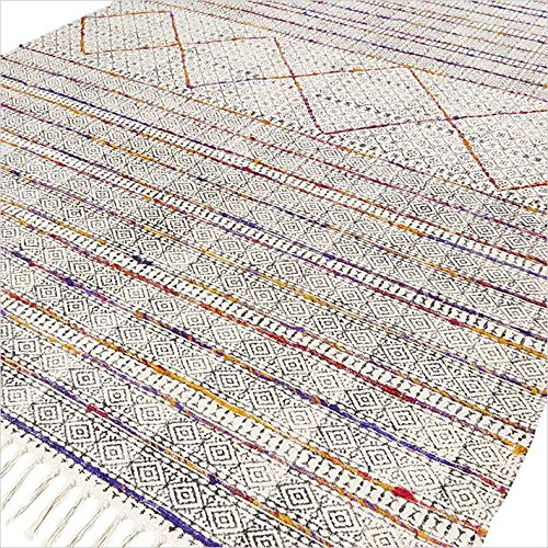 Eyes of India – 4 X 6 ft White Colorful Cotton Block Print Area Accent Overdyed Dhurrie Rug Flat Weave Woven Boho Chic Indian Bohemian Review