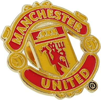 Amazon Com Manchester United Fc Official Metal Football Crest Pin Badge One Size Red Gold Clothing