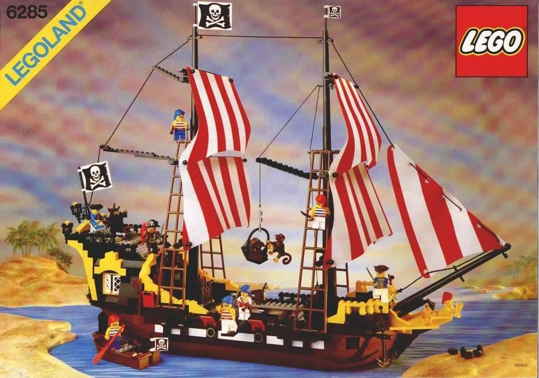 RARE Vintage 1989 Lego Black Seas Barracuda Pirate Ship #6285 Shooting Cannons