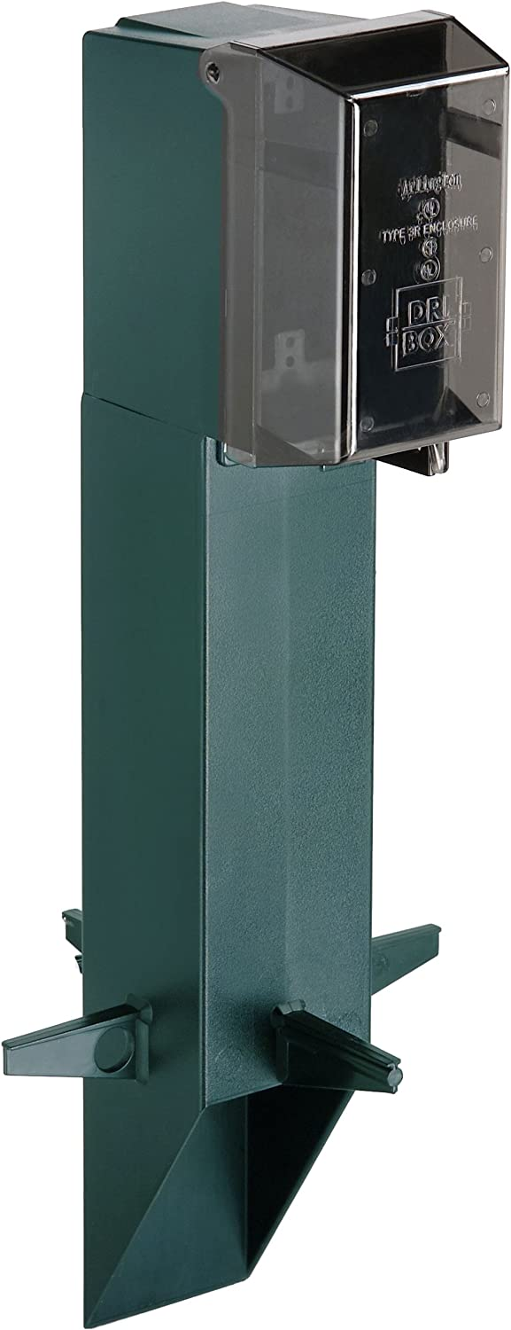GPD19G-1 Gard-N-Post Low-Profile Outdoor Landscape Lighting Post Enclosure with Outlet Cover, 19.5-Inch, Green, 1-Pack