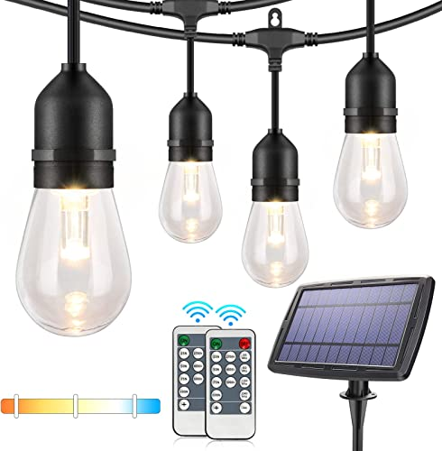 3-Color in 1 Dimmable Solar String Lights,48ft LED Outdoor String Lights for Patio with Remotes,15 Hanging Sockets,Waterproof Shatterproof,Warm White Daylight White Lights for Backyard,Garden