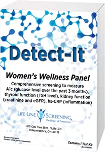 Life Line Screening Womens Wellness, Self-Administered Home Health Medical Test Kit Measures Kidney and Thyroid Function, Inflammation (CRP), and Glucose (A1c) - White
