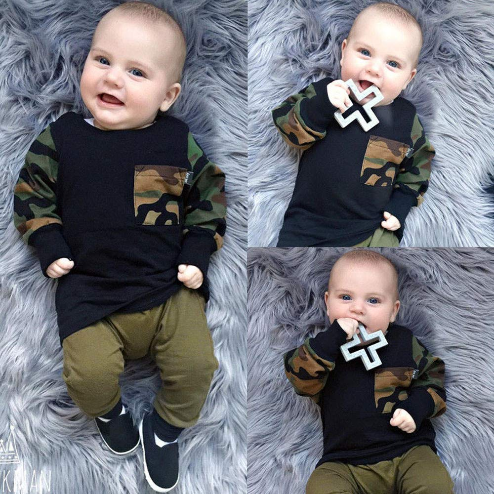 Dinlong Christmas Clothes Baby Girls Boys Long Camouflage Print Top Pants Outfit