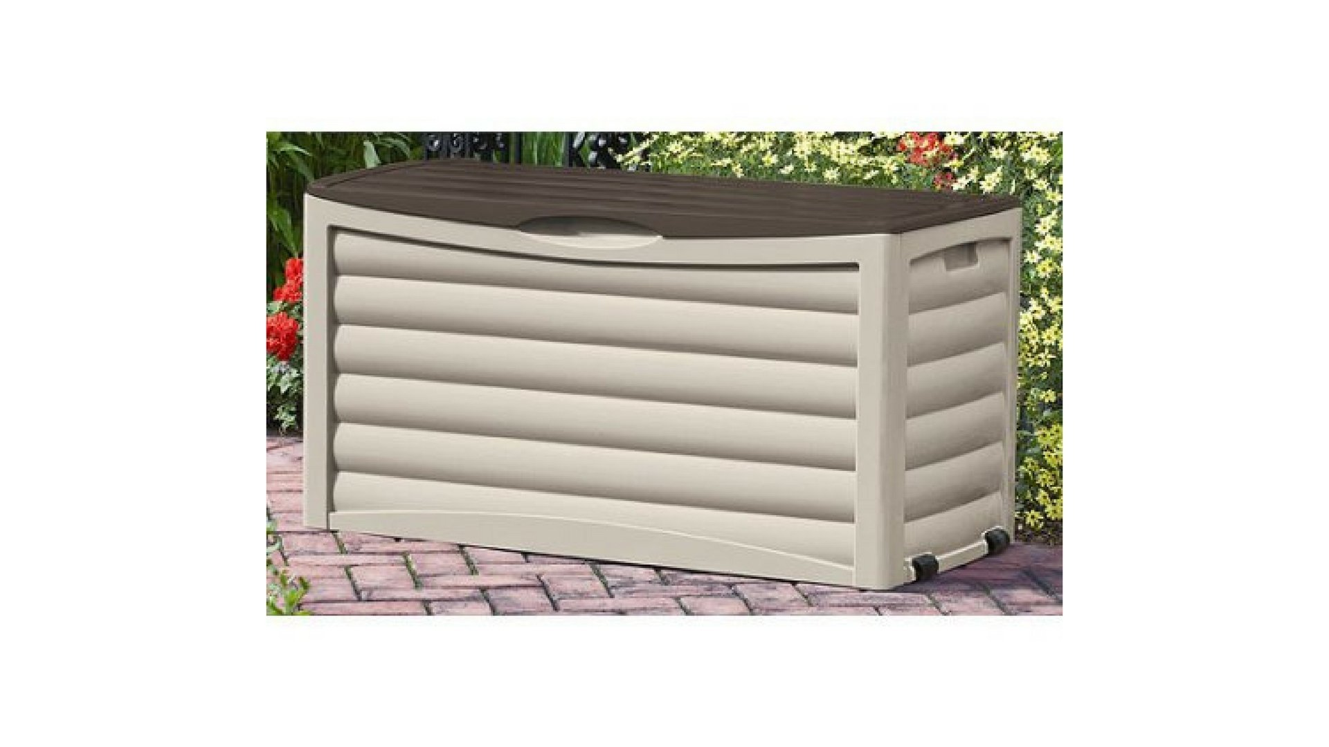 83 Gallon Light Taupe and Mocha Resin Contemporary Wicker Deck Box by Suncast*