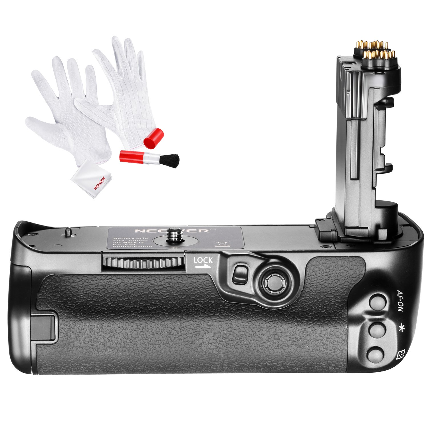 Neewer BG-E20 Replacement Battery Grip for Canon 5D Mark IV Camera, Works with LP-E6 LP-E6N Batteries, Comes with 3-IN-1 Cleaning Kit (Anti-static Gloves, Lens Brush, Microfiber Cleaning Cloth) by Neewer