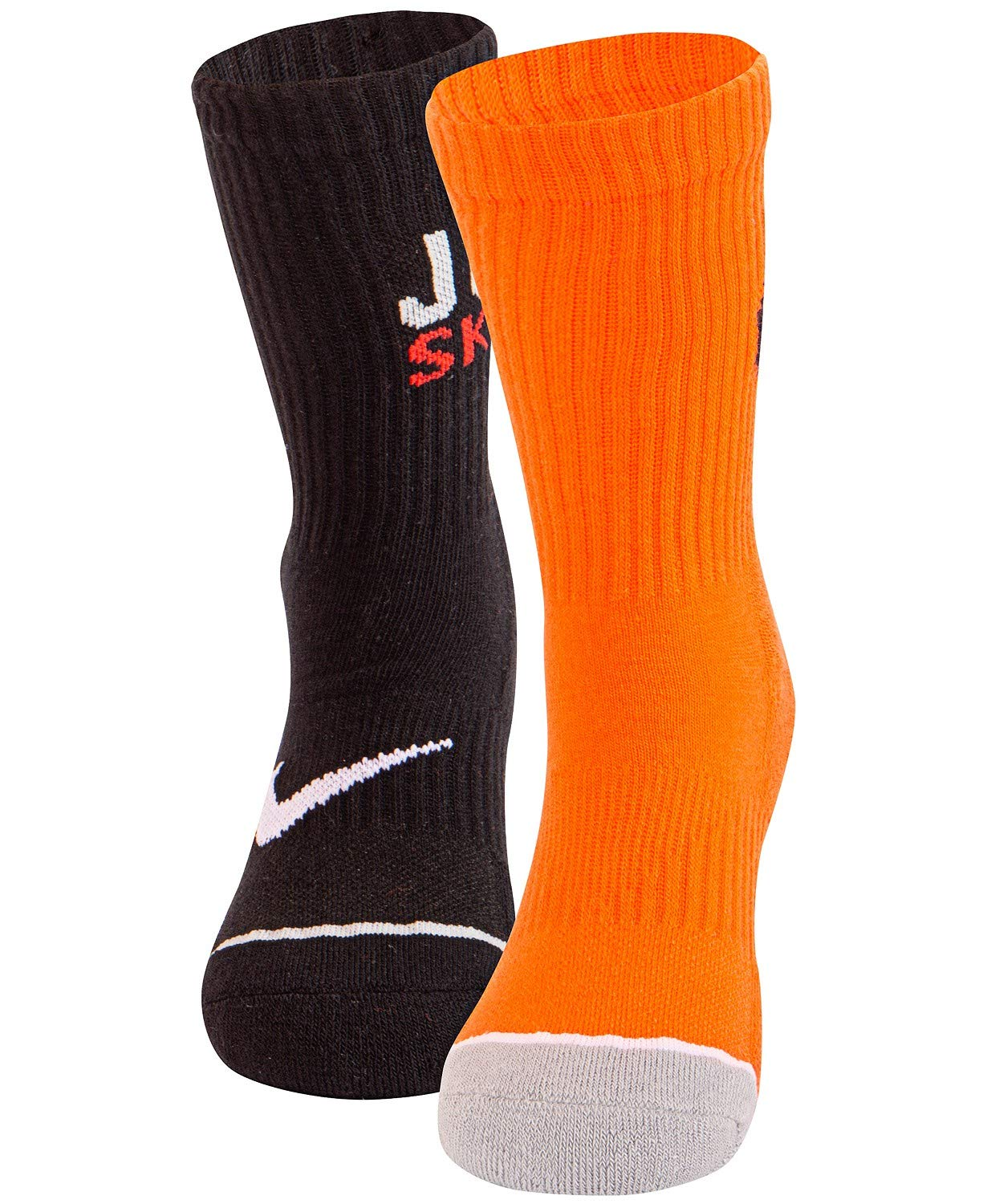 Nike Boy`s High Crew Socks, 2 Pack (Orange(UN0204-437)/Black, Youth Sock Size 5-6 (Kids' Shoe Size 9C-13C)) by Nike