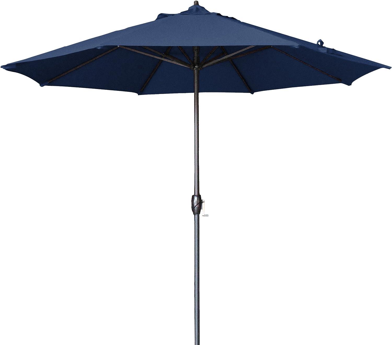 California Umbrella 9' Round Aluminum Market Umbrella, Crank Lift, Auto Tilt, Bronze Pole, Navy Blue Olefin