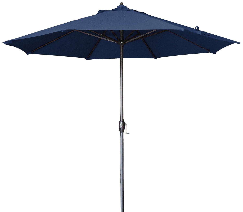 Amazon.com : California Umbrella 9 Round Aluminum Market Umbrella, Crank Lift, Auto Tilt, Bronze Pole, Navy Blue Olefin : Patio Umbrellas : Garden & ...