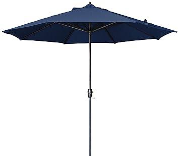 California Umbrella 9u0027 Round Aluminum Market Umbrella, Crank Lift, Auto  Tilt, Bronze