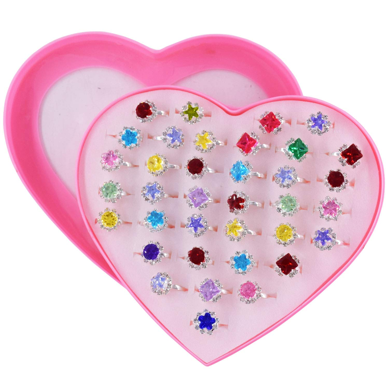 SUNMALL 36 pcs Little Girl Adjustable Rhinestone Gem Rings in Box, Children Kids Jewelry Rings Set with Heart Shape Display Case, Girl Pretend Play and Dress up Rings for Kids by SUNMALL