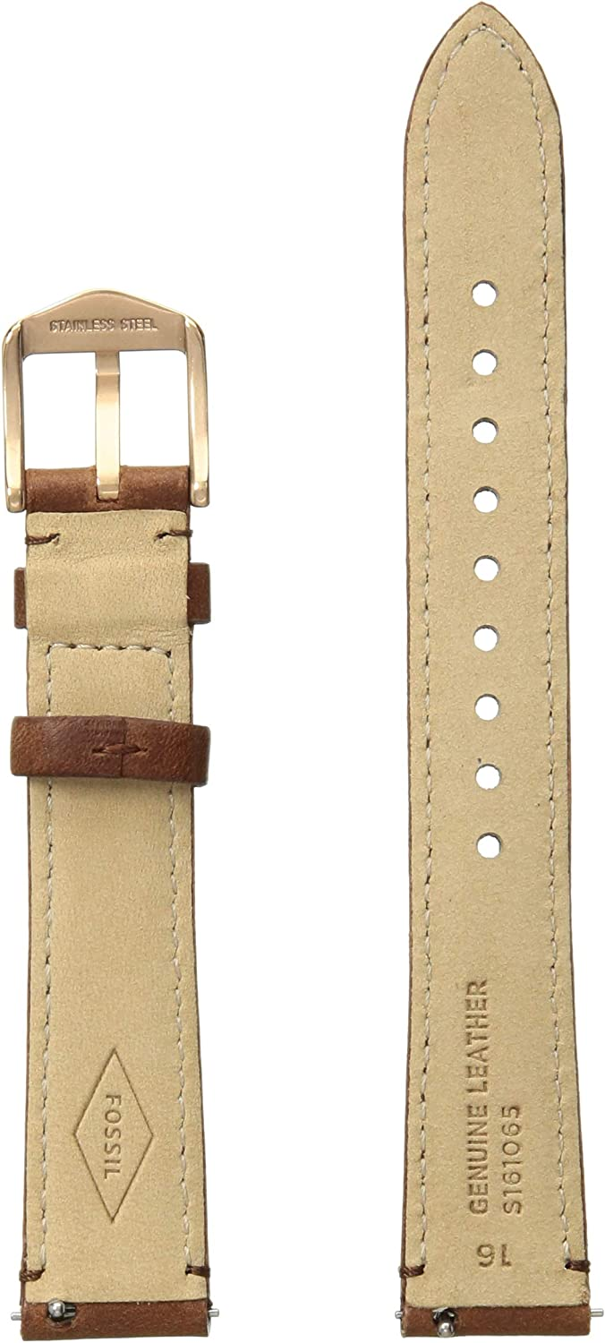 Fossil Leather and Stainless Steel Interchangeable Watch Band Strap Rose Gold/Light Brown Leather