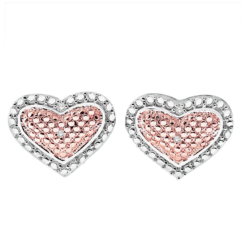 Two Tone Heart Diamond Earrings In Sterling Silver