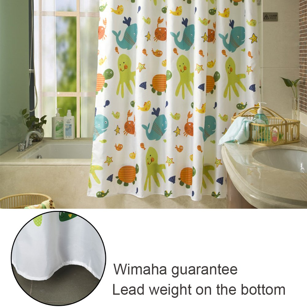 Amazon.com: Kids Shower Curtain, Wimaha Fabric Shower Curtains Soft Funny  Shower Curtain Cartoon Animal Print Eco Friendly For Childrenu0027s Bathroom  Bathtub, ...