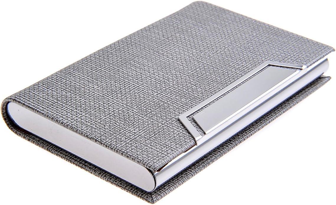 Quantum Abacus Tarjetero / Estuche para tarjetas de visita, de acero inoxidable y cuero PU, con cierre magnético, elegancia clásica de todos los tiempos, Mod. 704-02 (DE): Amazon.es: Oficina y papelería