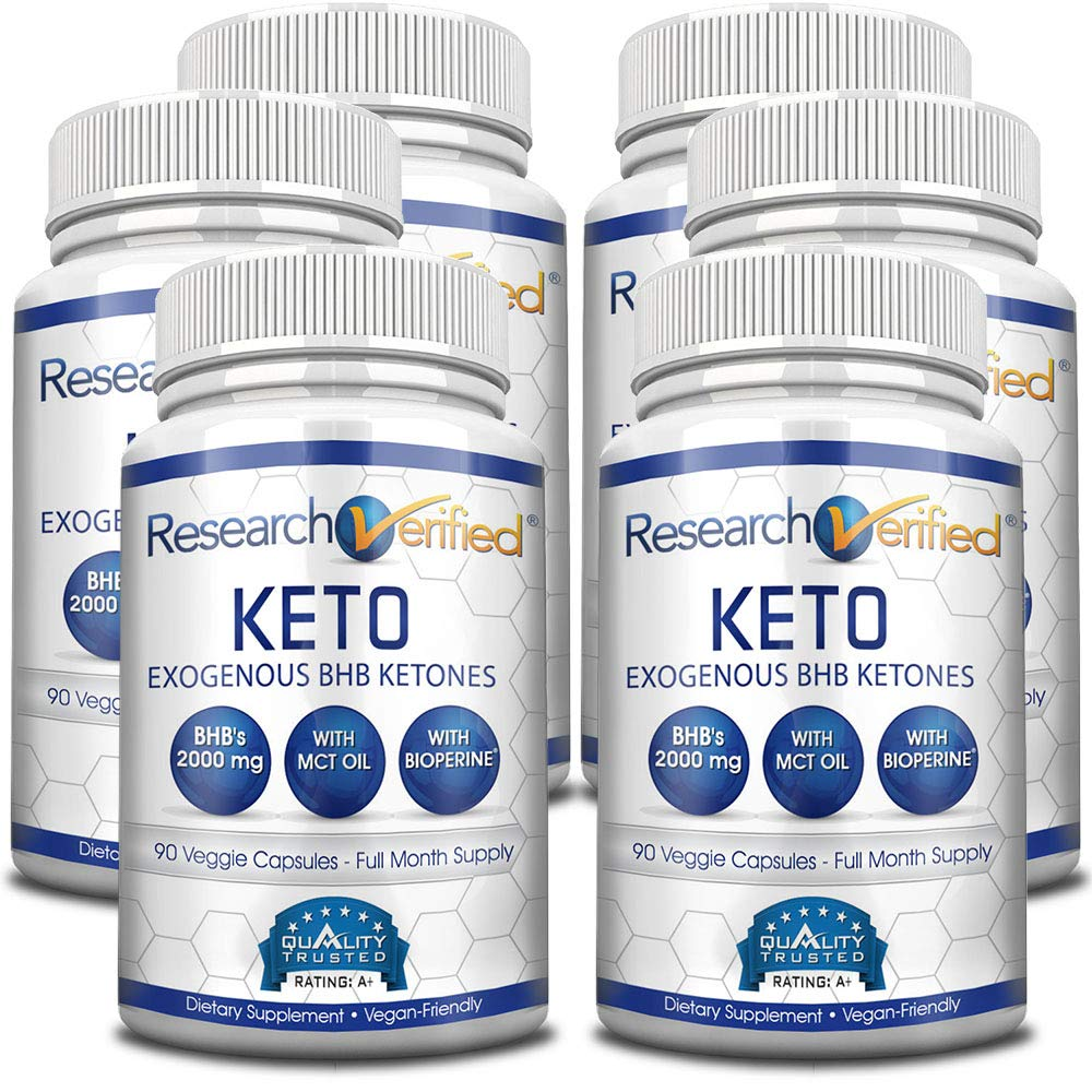 Research Verified Keto - Vegan Keto Supplement with 4 Exogenous Ketone Salts (Calcium, Sodium, Magnesium and Potassium) and MCT Oil to Boost Energy, Weight Loss and Focus in Ketosis - 6 Bottles by Research Verified