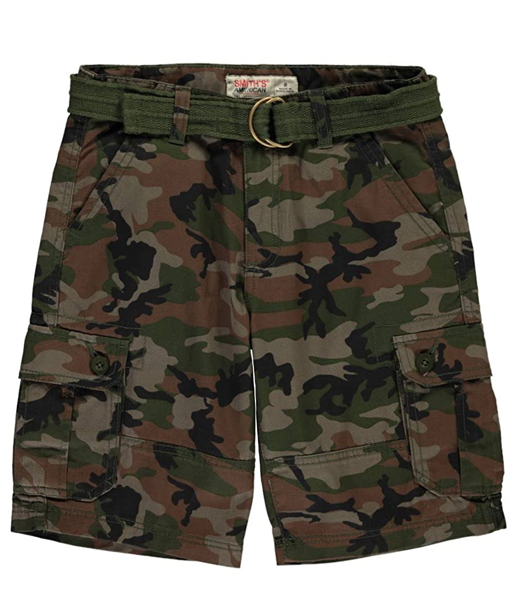 Smith's American Big Boys' Button & Snap Belted Cargo Shorts 16 Smith's American