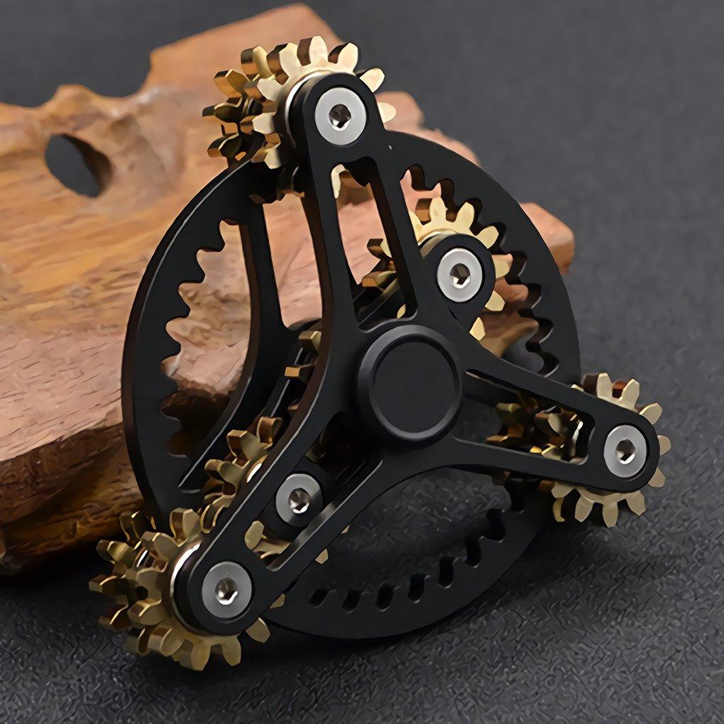 Wewinn Pure Brass Fidget Spinner Gears Linkage Fidget Gyro Toy Metal DIY Hand Spinner Spins Long Time EDC Focus Meditation Break Bad Habits ADHD With Multiple Premium Bearings (12 Bearings Black)