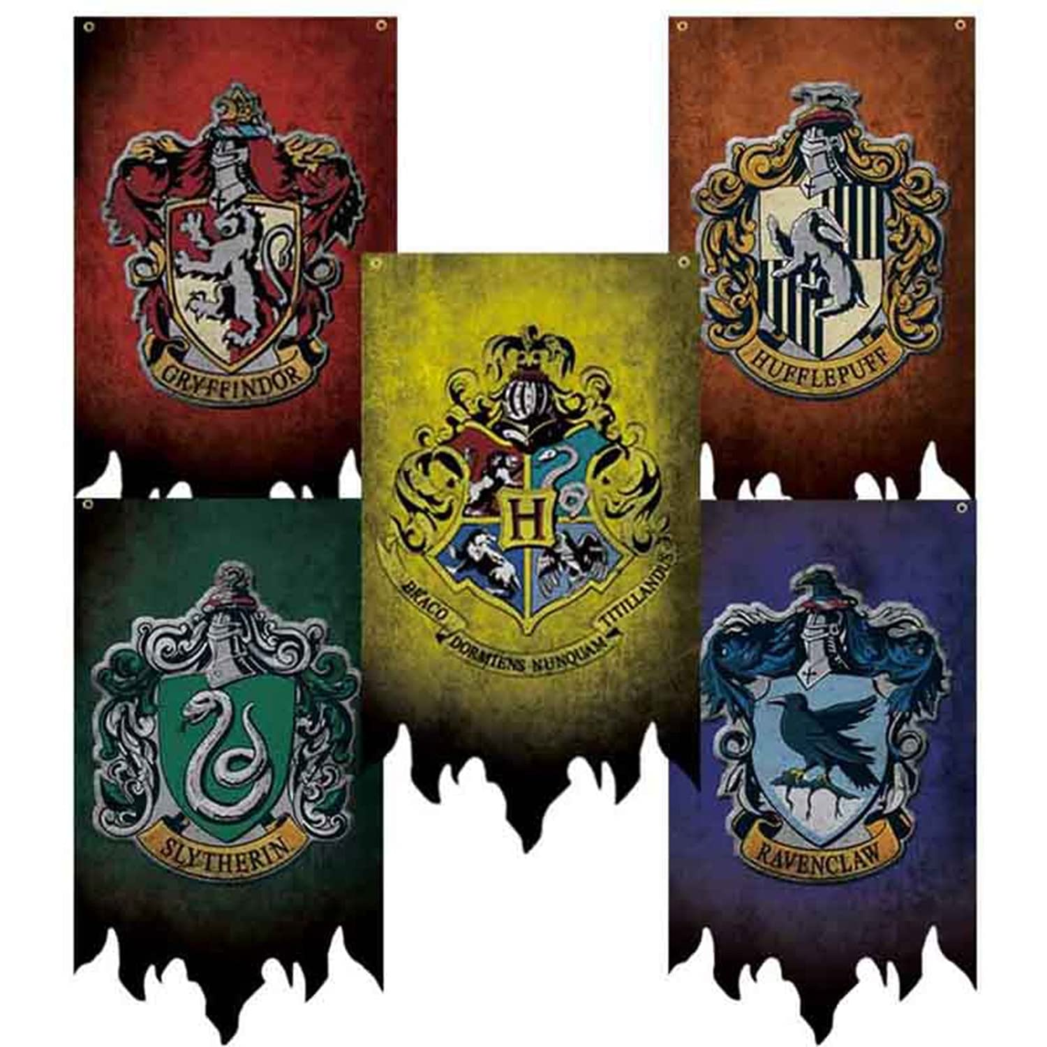 Harry Potter Hogwarts Gryffindor Slytherin Hufflepuff Ravenclaw Collection House Banner Wall Decoration Indoor Outdoor Party Holiday Decoration Flag (5pcs, 12x20inch)